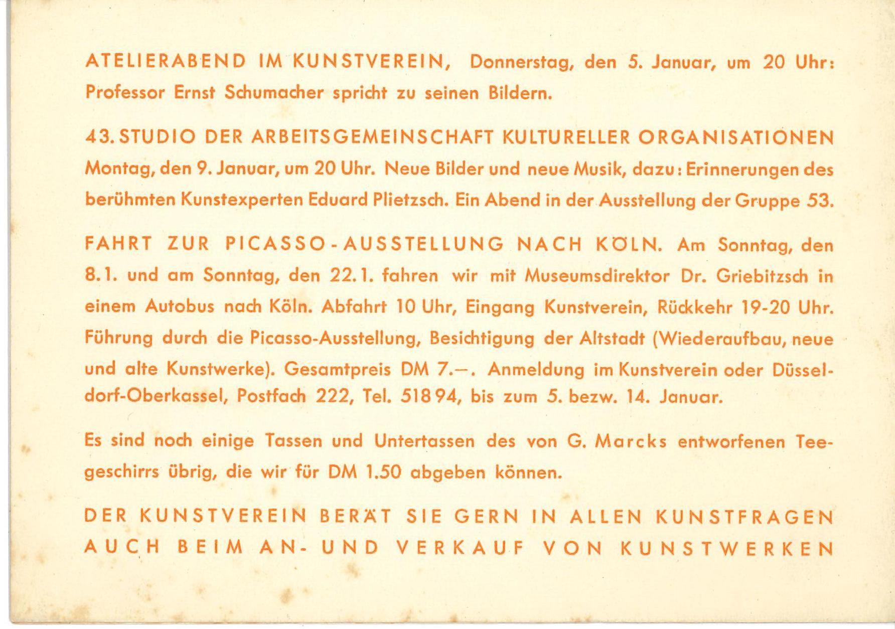 Gruppe 53, Kunstverein für die Rheinlande und Westfalen, Düsseldorf, 1956; Archiv der Avantgarden, Staatliche Kunstsammlungen Dresden