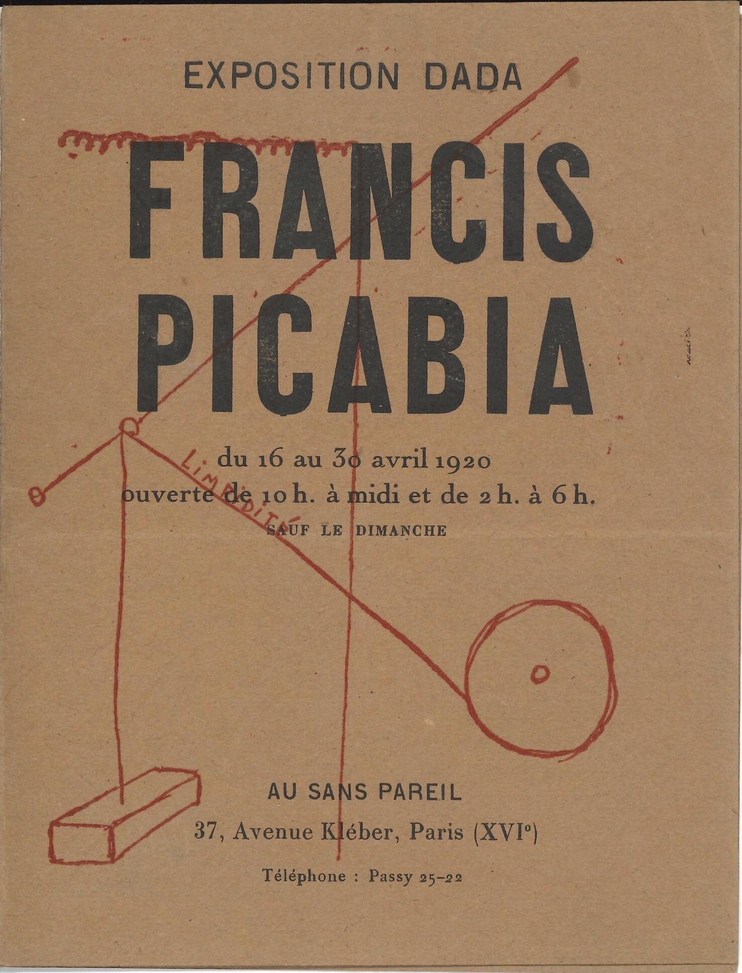 """Francis Picabia """"Exposition DADA"""", 1920 (Invitation) Archiv der Avantgarden, Staatliche Kunstsammlungen Dresden © VG Bild-Kunst, Bonn"""