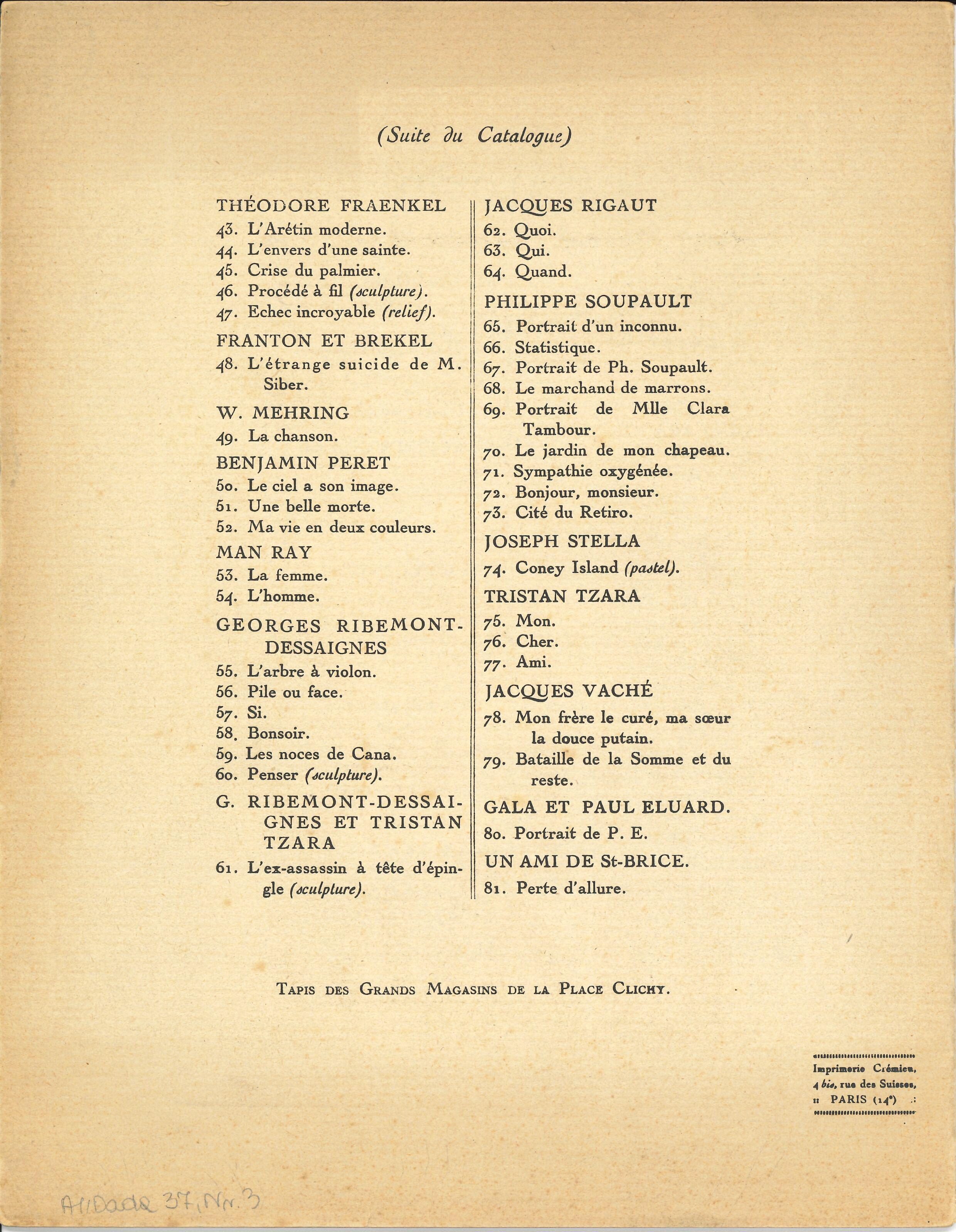 SALON DADA, Galerie Montaigne,  1921 (Announcement) Archiv der Avantgarden, Staatliche Kunstsammlungen Dresden