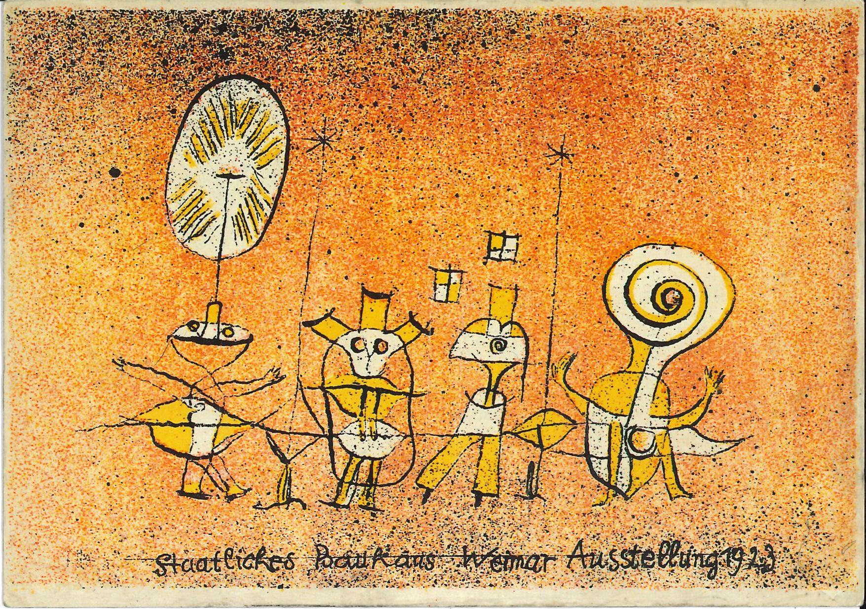 """""""Ausstellung des Staatlichen Bauhauses Weimar"""", Invitation Card designed by Paul Klee, 1923; Archiv der Avantgarden, Staatliche Kunstsammlungen Dresden"""