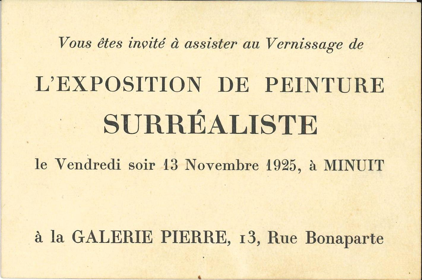 """L'exposition de Peinture Surréaliste"", Galerie Pierre, 1925 (invitation) Archiv der Avantgarden, Staatliche Kunstsammlungen Dresden"
