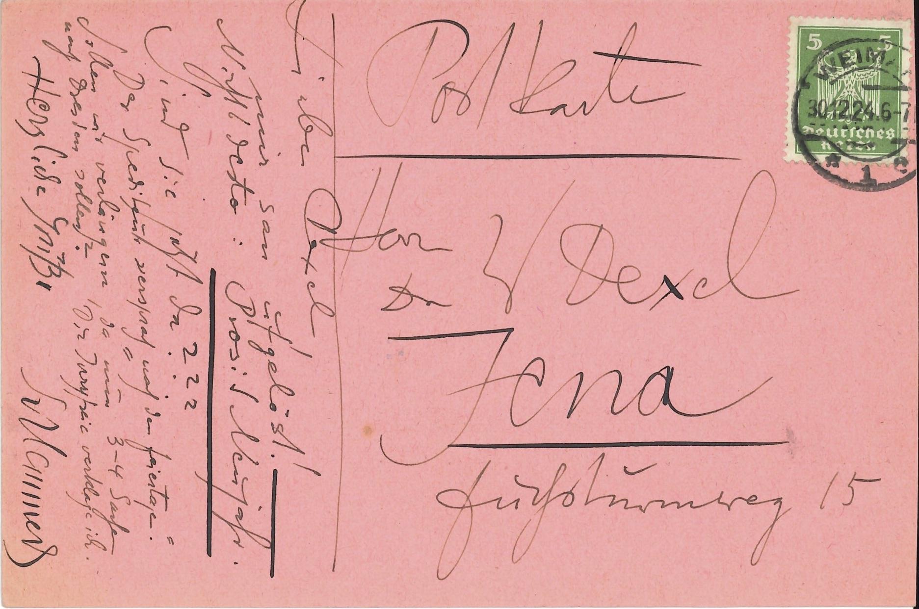 Oskar Schlemmer, Kunstverein Jena 1924 (Invitation) Archiv der Avantgarden, Staatliche Kunstsammlungen Dresden