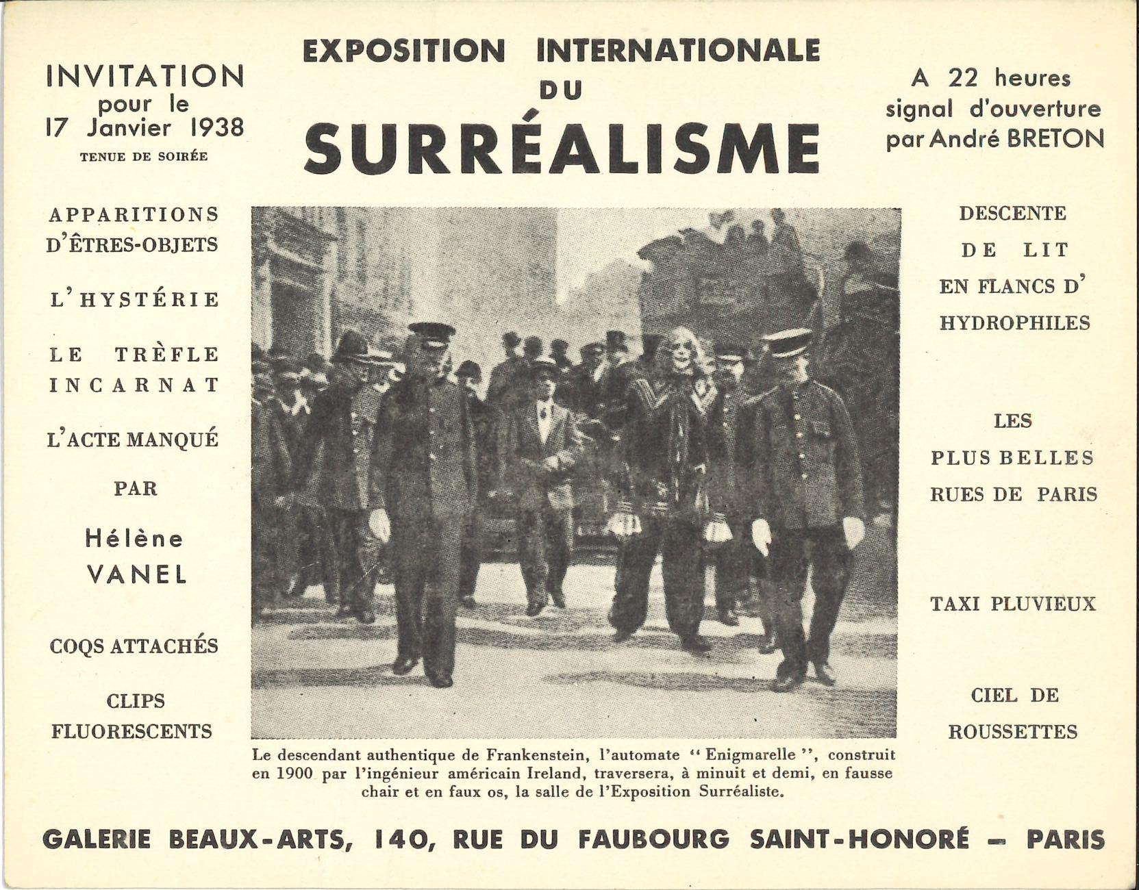"""Exposition Internationale du Surréalisme, Galerie Beaux Arts, Paris, 1938, (Invitation)  Archiv der Avantgarden, Staatliche Kunstsammlungen Dresden"