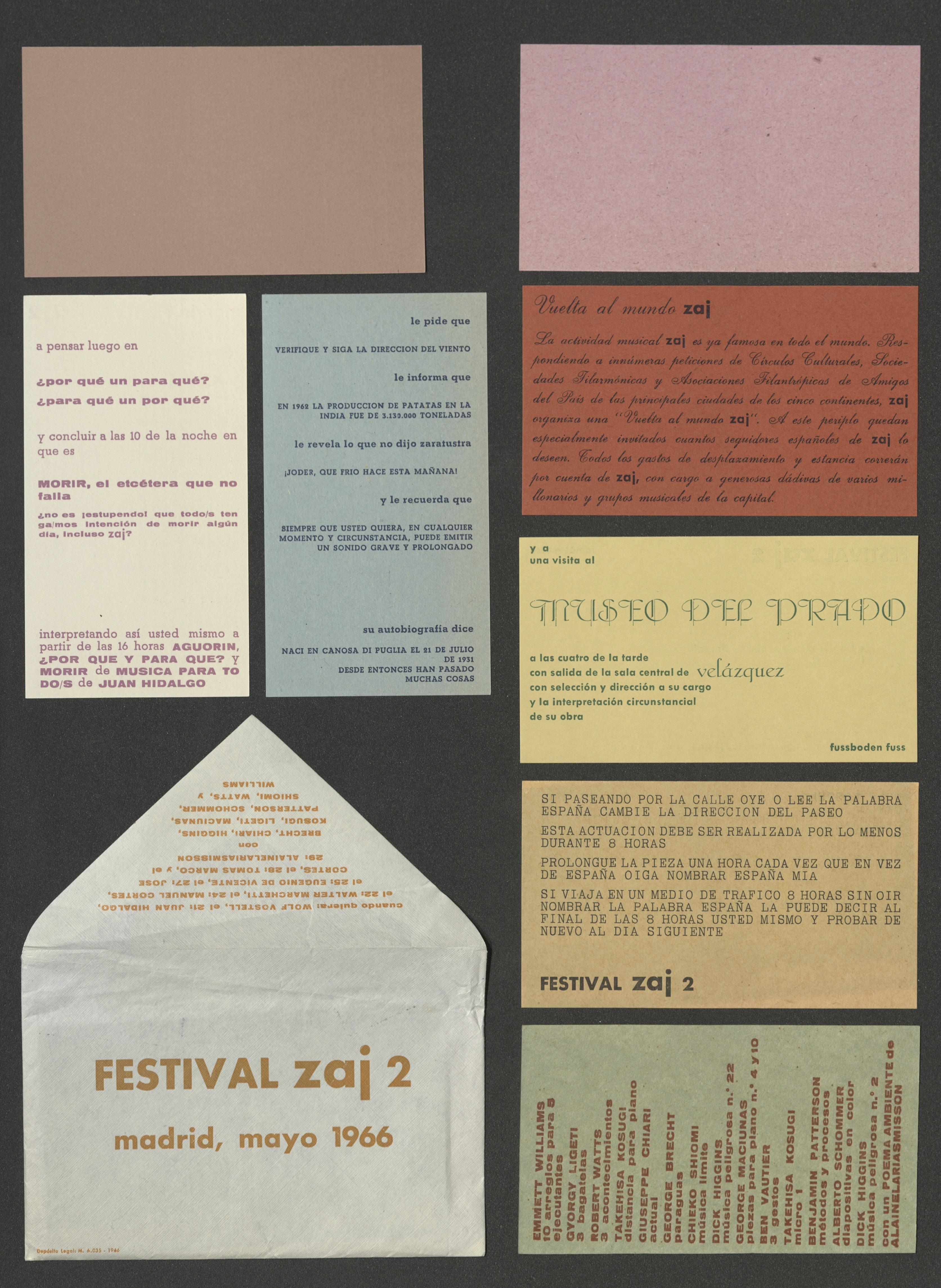 Invitation cards: FESTIVAL ZAJ 2, MADRID 1966; Archiv der Avantgarden, Staatliche Kunstsammlungen Dresden