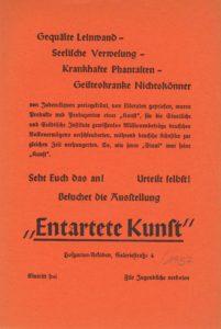 """""""Entartete Kunst"""", Invitation, 1937 (Announcement); Archiv der Avantgarden, Staatliche Kunstsammlungen Dresden"""