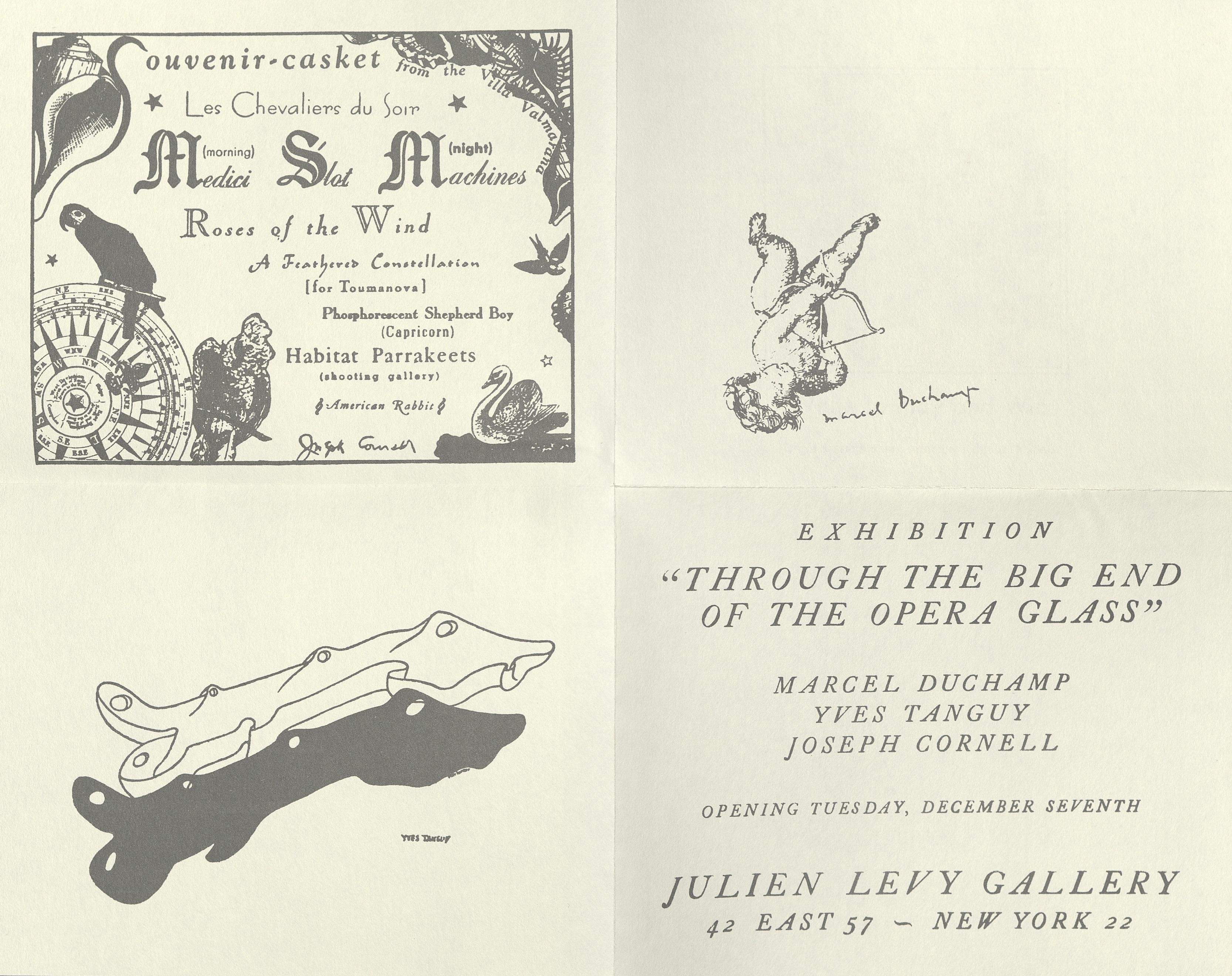 """Galerie Julien Levy, New York """"The Big End Of The Opera Glass"""", Joseph Cornell, Marcel Duchamp, Yves Tanguy, 1943; Archiv der Avantgarden, Staatliche Kunstsammlungen Dresden © VG Bild-Kunst, Bonn"""