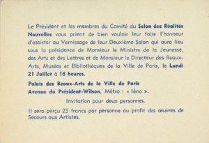 2. Salon 1947, Réalités Nouvelles, Musée des Beaux-Arts, Paris (Invitation); Archiv der Avantgarden, Staatliche Kunstsammlungen Dresden