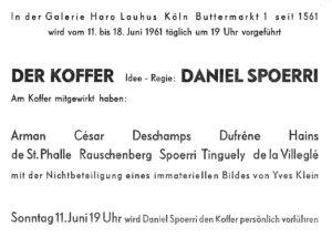 """Daniel Spoerri """"Der Koffer"""", Galerie Haro Lauhus, Köln, 1961 (INVITATION); Archiv der Avantgarden, Staatliche Kunstsammlungen Dresden"""