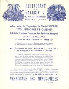Daniel Spoerri, invitation/menu. Restaurant de la Galerie J. Paris, Galerie J., 1963; Archiv der Avantgarden, Staatliche Kunstsammlungen Dresden © VG Bild-Kunst, Bonn