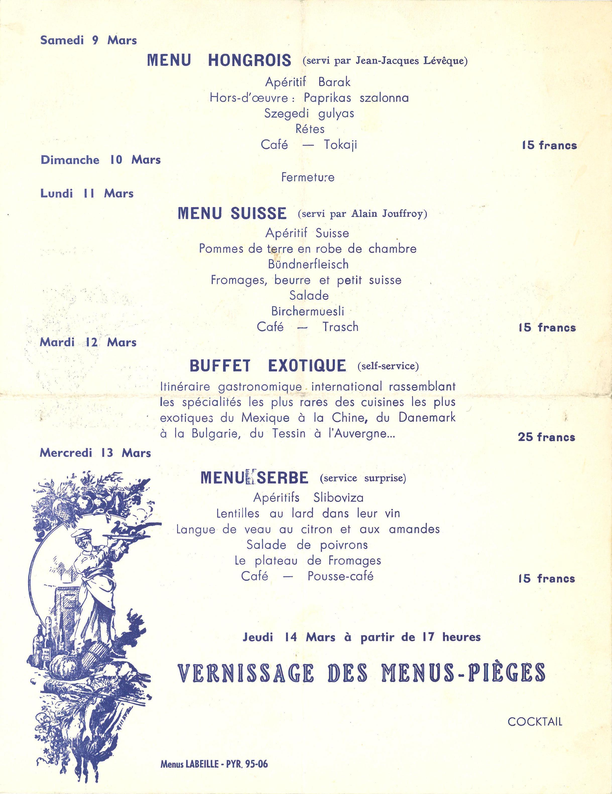 Daniel Spoerri, invitation/menu. Restaurant de la Galerie J. Paris, Galerie J, 1963; Archiv der Avantgarden, Staatliche Kunstsammlungen Dresden © VG Bild-Kunst, Bonn