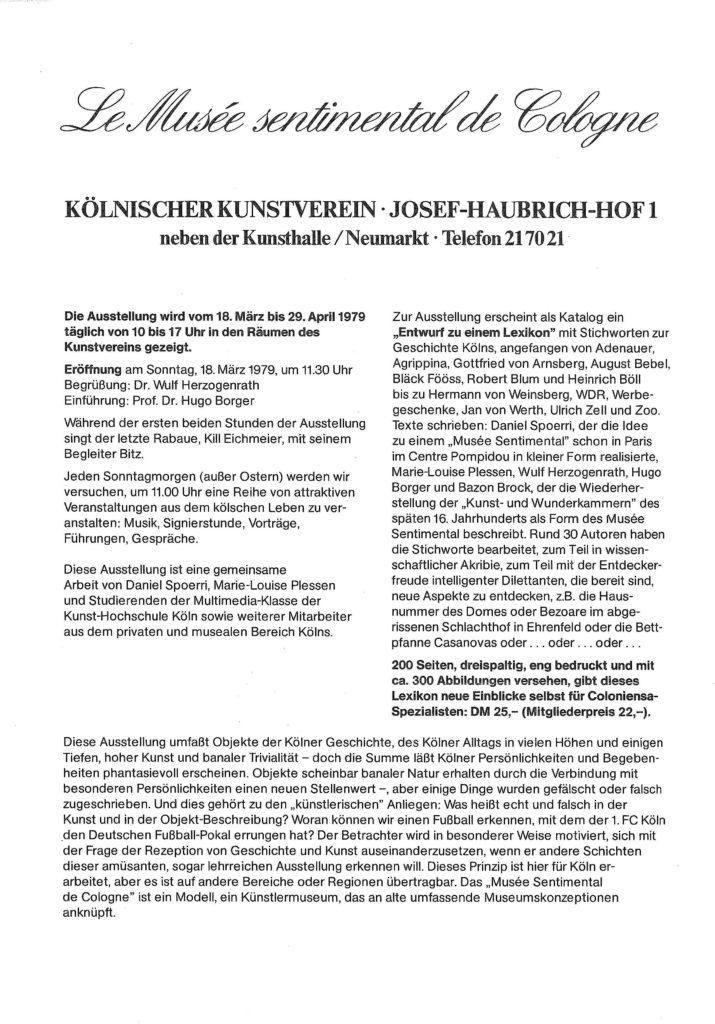 """""""Le Musée Sentimental de Cologne. KÖLN INKOGNITO"""", Kölnischer Kunstverein, 1979 (Program); Archiv der Avantgarden, Staatliche Kunstsammlungen Dresden"""