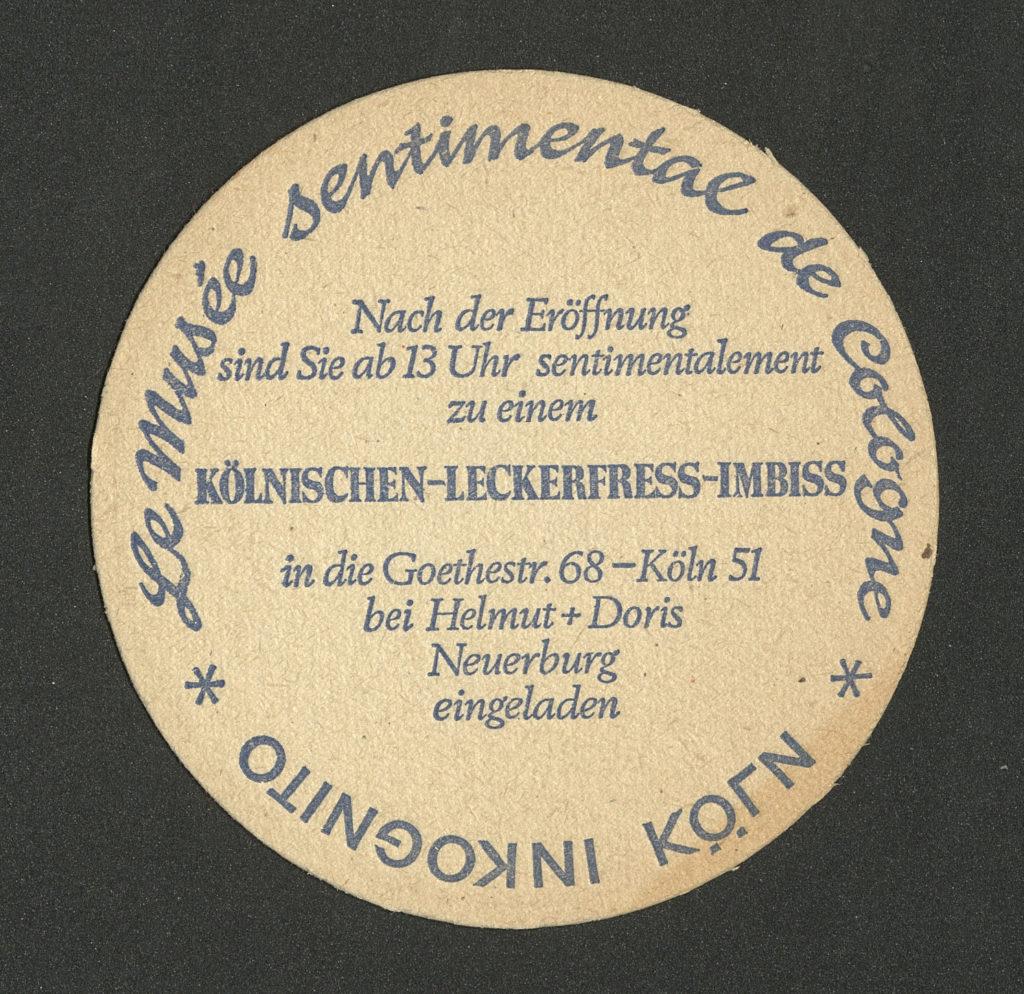 """""""Le Musée Sentimental de Cologne. KÖLN INKOGNITO"""", Kölnischer Kunstverein, 1979 (Invitation); Archiv der Avantgarden, Staatliche Kunstsammlungen Dresden"""