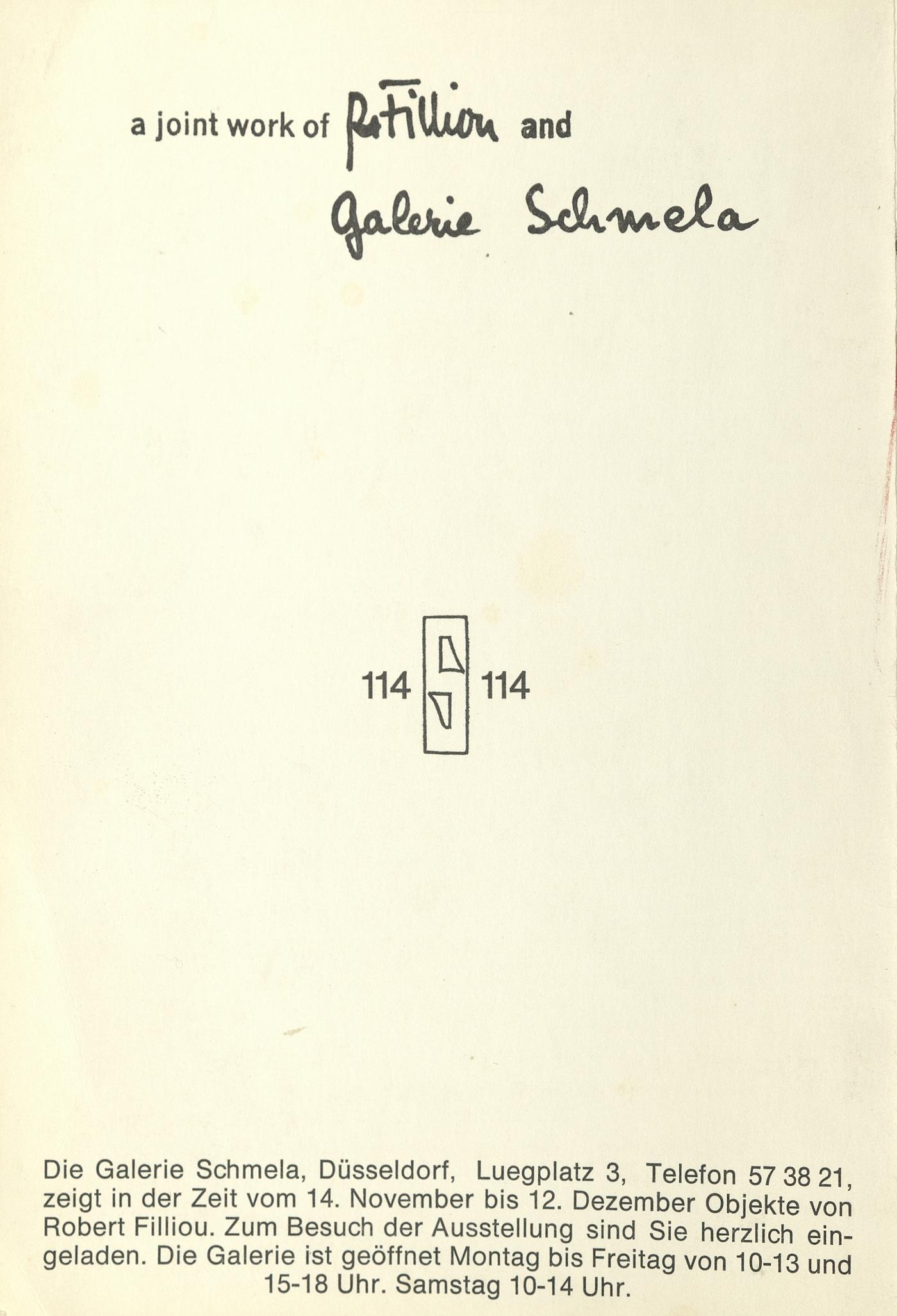Robert Filliou, Galerie Schmela, Düsseldorf 1970 (Invitation); Archiv der Avantgarden, Staatliche Kunstsammlungen Dresden
