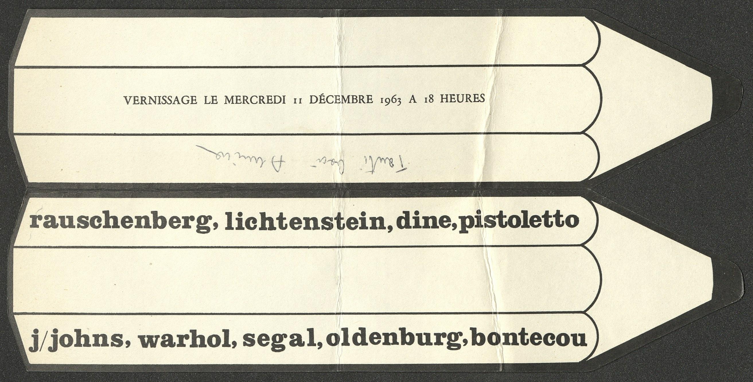 Ileana Sonnabend, DESSINS, Paris 1963 (Invitation); Archiv der Avantgarden, Staatliche Kunstsammlungen Dresden