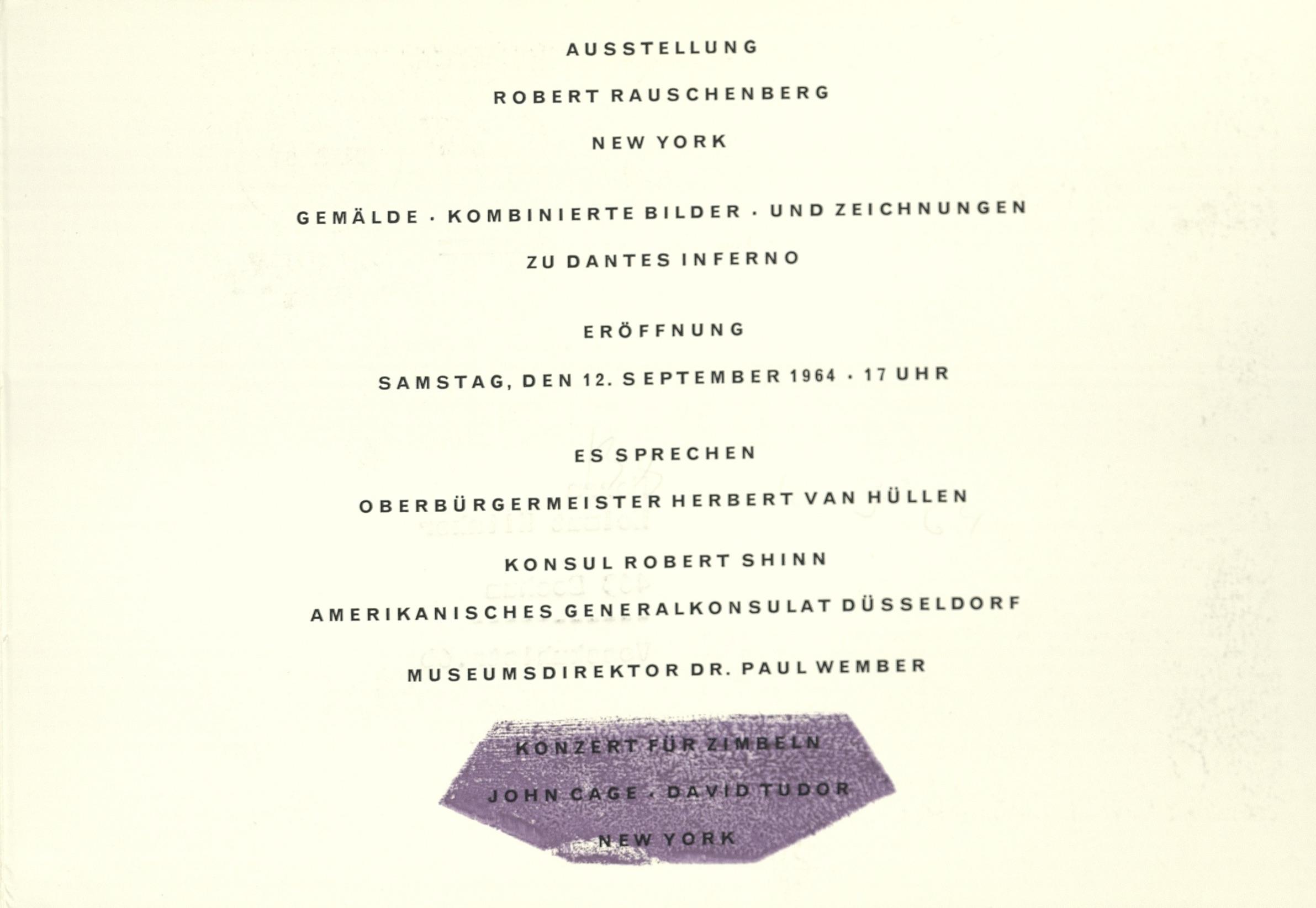 Robert Rauschenberg, Museum Haus Lange Krefeld 1964 (INVITATION); Archiv der Avantgarden, Staatliche Kunstsammlungen Dresden © VG Bild-Kunst, Bonn