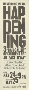 """Electrifying Events: Happenings"", Wolf Vostell / Art Brennar / Al Hansen, 3rd Rail Gallery New York 1964 (Invitation); Archiv der Avantgarden, Staatliche Kunstsammlungen Dresden"