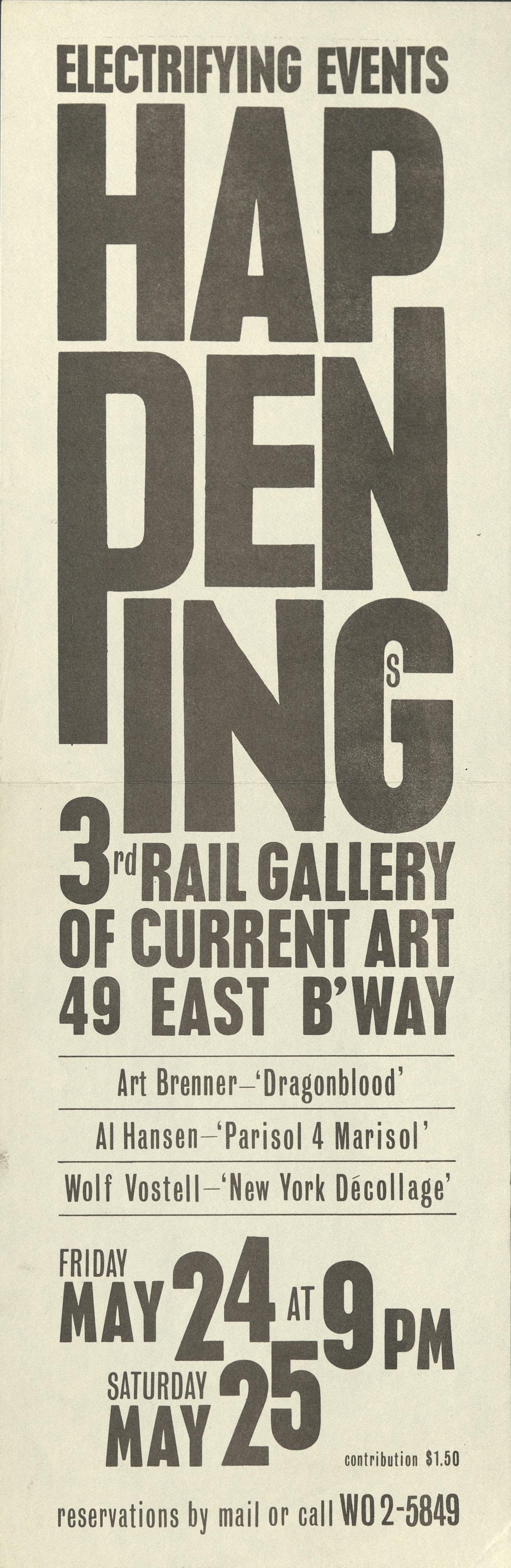 """""""Electrifying Events: Happenings"""", Wolf Vostell / Art Brennar / Al Hansen, 3rd Rail Gallery New York 1964 (Invitation); Archiv der Avantgarden, Staatliche Kunstsammlungen Dresden"""