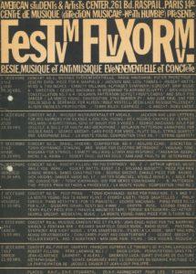 FESTUM FLUXORUM, American Center, Paris 1962 (poster); Archiv der Avantgarden, Staatliche Kunstsammlungen Dresden
