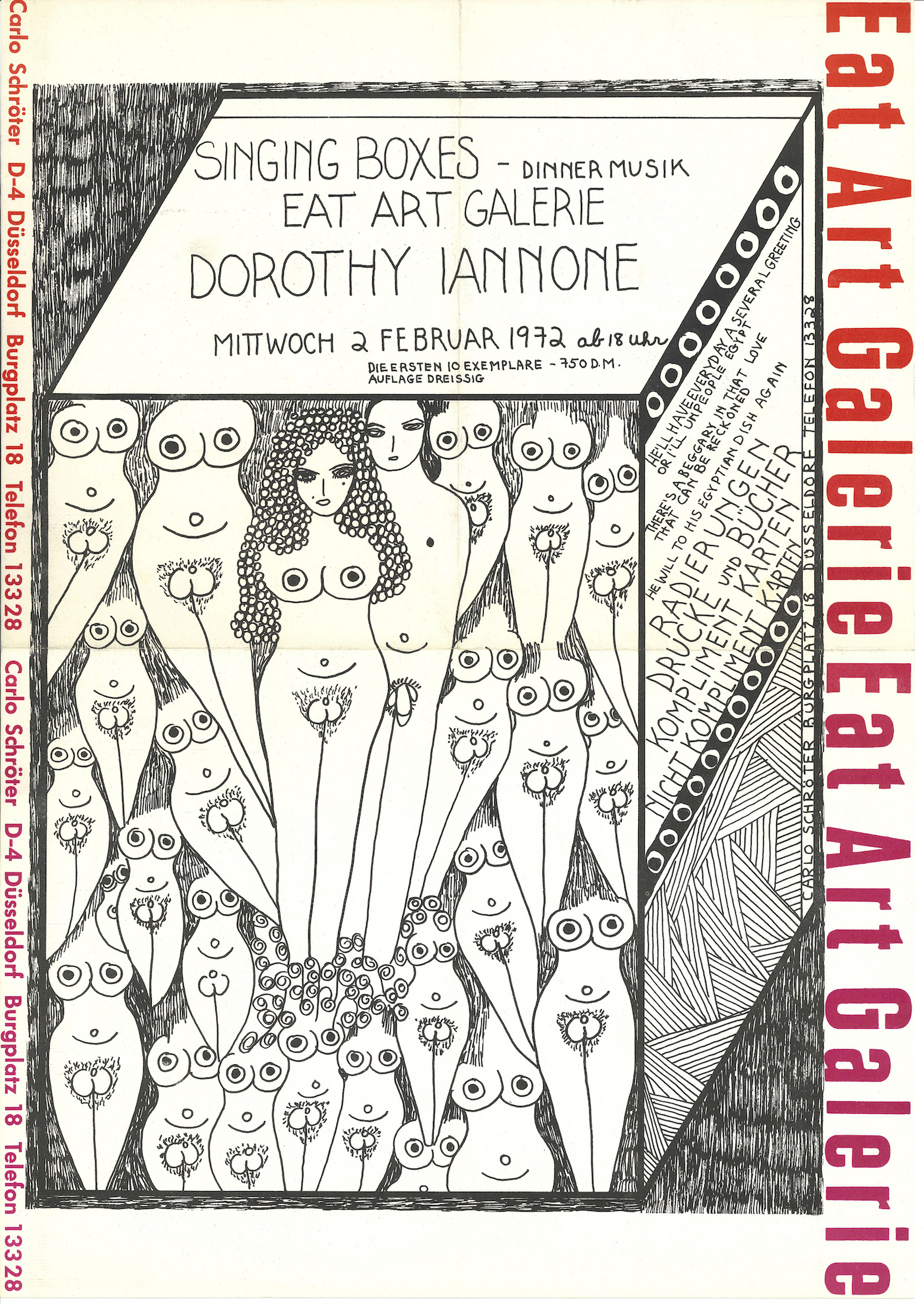 "Dorothy Iannone, Invitation, ""Singing Boxes – Dinner Music"", Eat Art Gallery by Daniel Spoerri, Düsseldorf 1972 (Invitation Poster); Archiv der Avantgarden, Staatliche Kunstsammlungen Dresden"