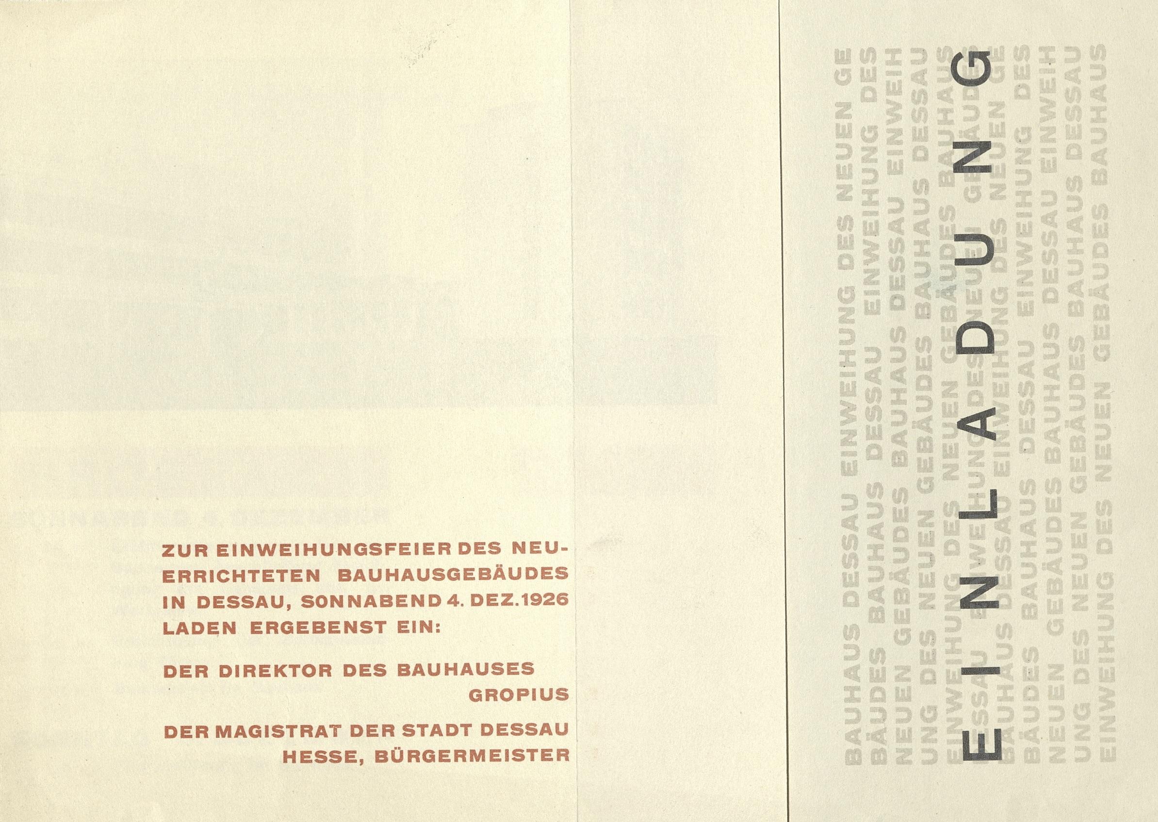 Einweihungsfeier des Neuerrichteten Bauhausgebäudes in Dessau, 4.12.1926 (Invitation); Archiv der Avantgarden, Staatliche Kunstsammlungen Dresden