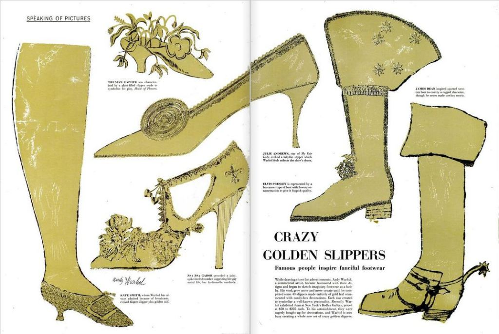 "LIFE Magazine, January 1957, New York, depicting Andy Warhol's ""Crazy Golden Slippers""."