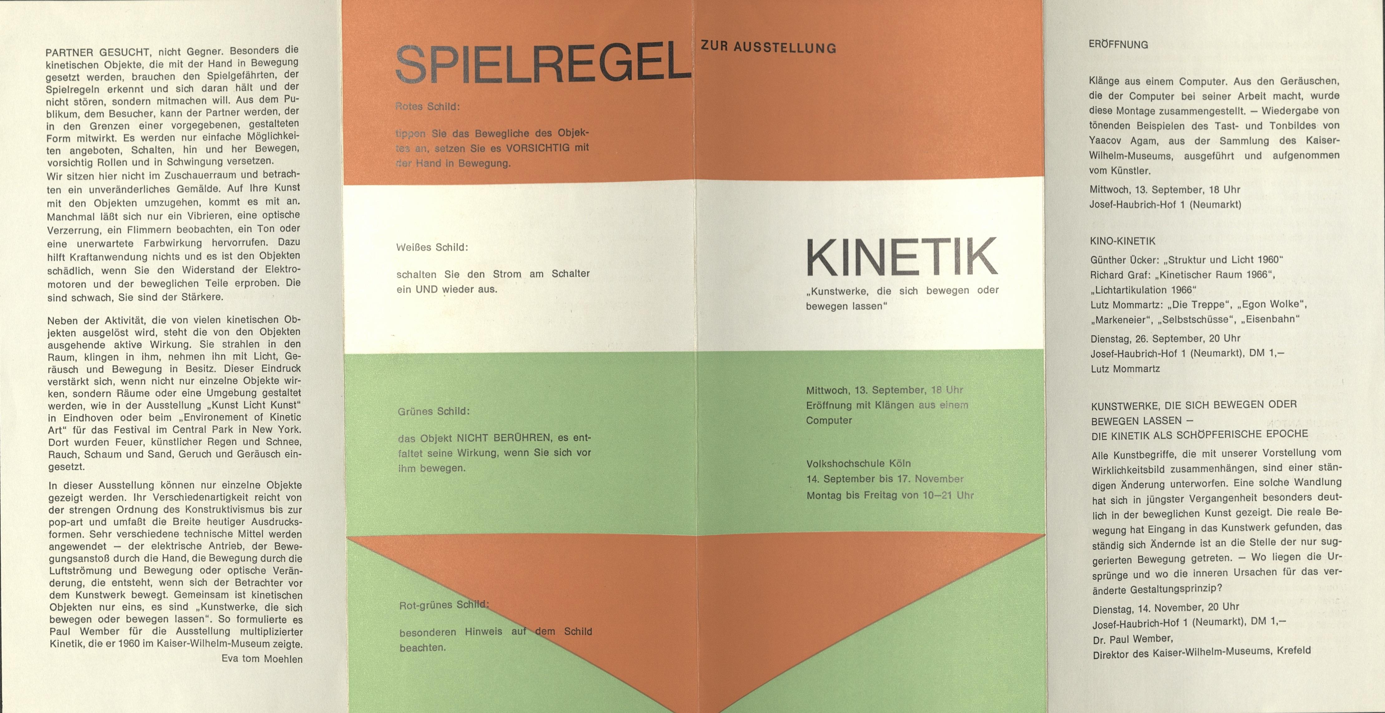 Kinetik, Volkshochschule Köln, Cologne 1967 (Invitation); Archiv der Avantgarden, Staatliche Kunstsammlungen Dresden