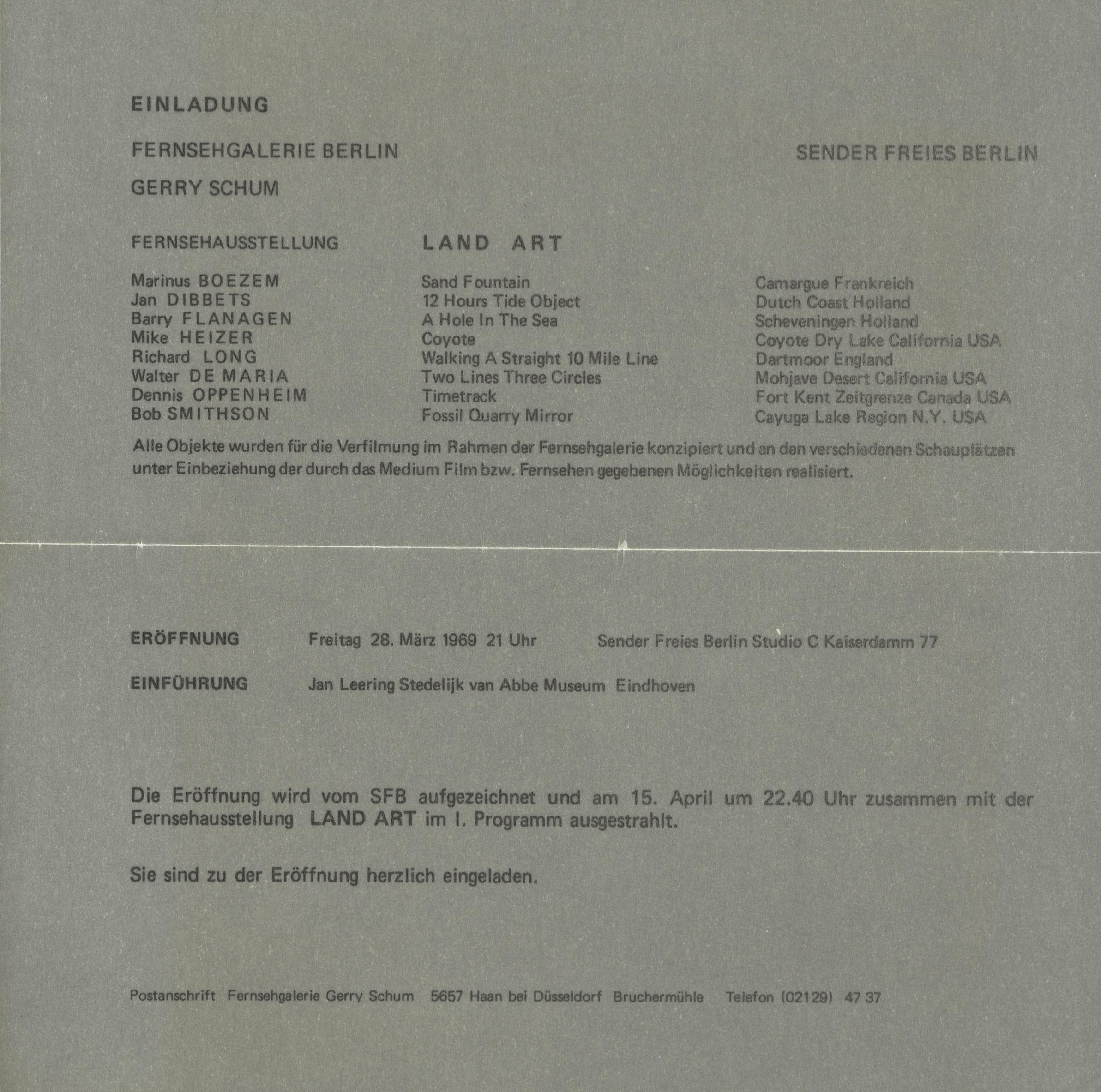 Gerry Schum, Fernsehgalerie Berlin, Land Art, Sender Freies Berlin, 1969 (invitation); Archiv der Avantgarden, Staatliche Kunstsammlungen Dresden