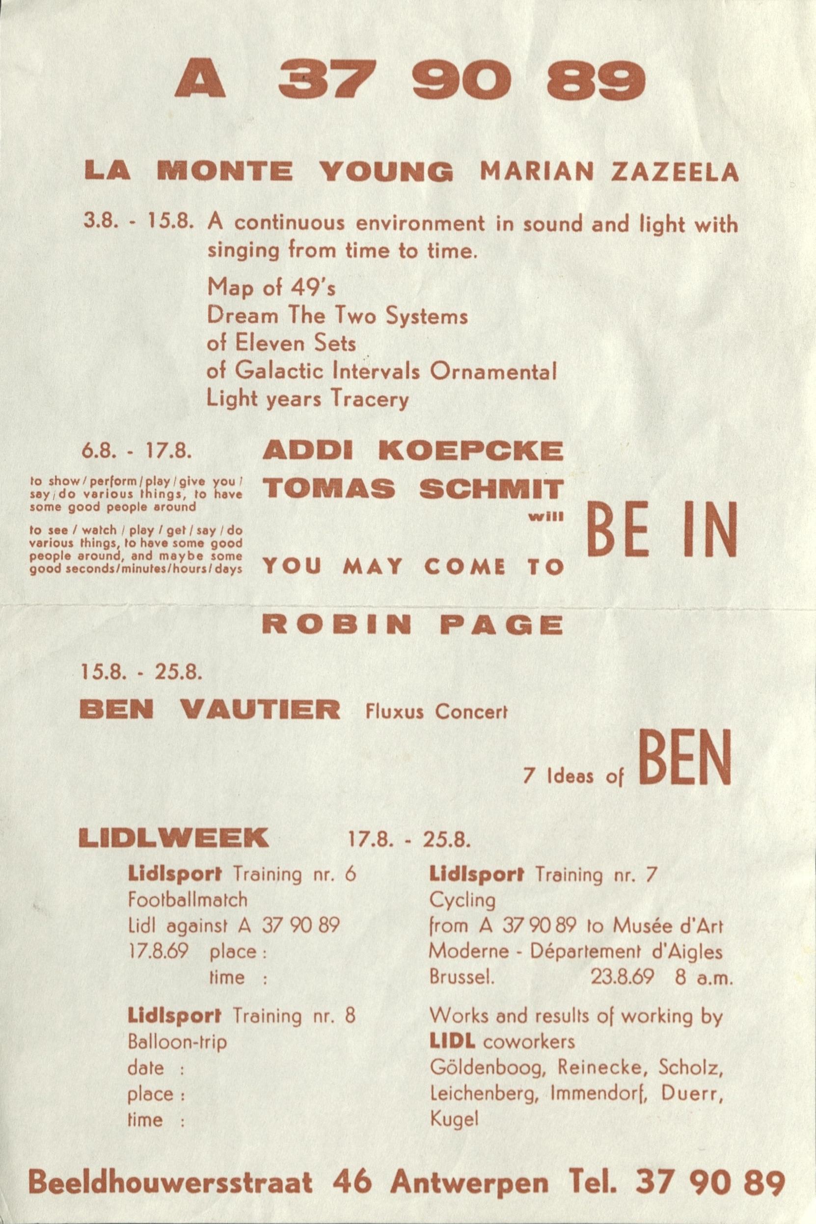 A 37 90 89, Augustflyer, Antwerpen, 1969 (announcement); Archiv der Avantgarden, Staatliche Kunstsammlungen Dresden