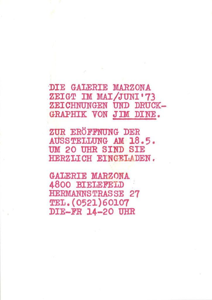 Galerie Marzona, Jim Dine, 1973 (Invitation); Archiv der Avantgarden, Staatliche Kunstsammlungen Dresden © VG Bild-Kunst, Bonn