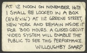 "Willoughby Sharp, Inside-Out, Video Performance, New York, Greene Street, 1974 (invitation)Galerie Stampa / Kunsthalle Basel, Coop Himmelb(l)au ""Contact"", 1971 (Announcement); Archiv der Avantgarden, Staatliche Kunstsammlungen Dresden"