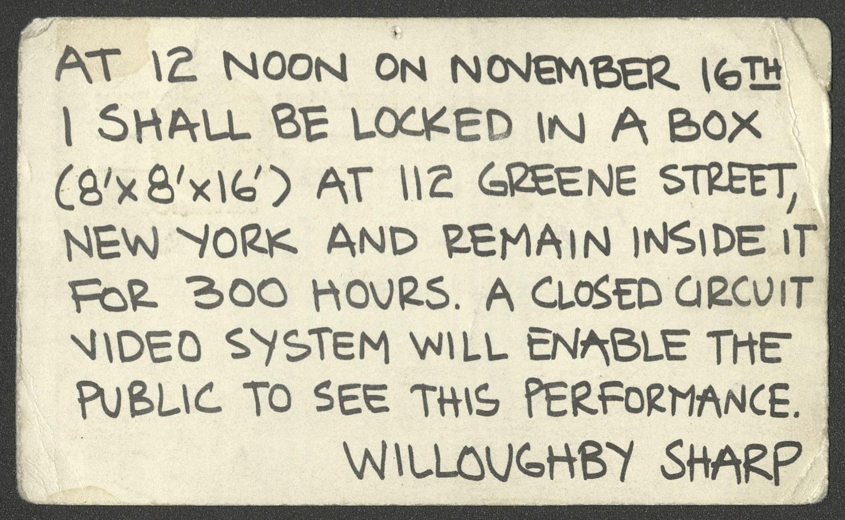 "Willoughby Sharp, Inside-Out, Video Performance, New York, Greene Street, 1974 (invitation)Galerie Stampa / Kunsthalle Basel, Coop Himmelb(l)au ""Contact"", 1971 (Announcement); Archiv der Avantgarden, Staatliche Kunstsammlungen Dresden"