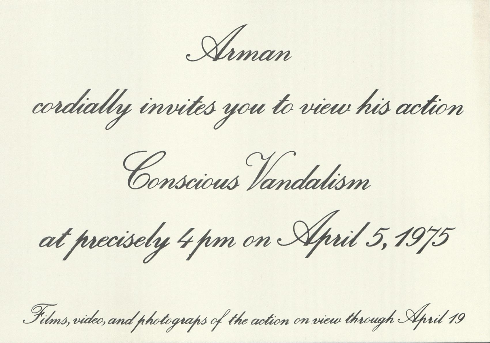 Arman, CONSCIOUS VANDALISM, John Gibson Gallery, New York 1975 (Invitation); Archiv der Avantgarden, Staatliche Kunstsammlungen Dresden