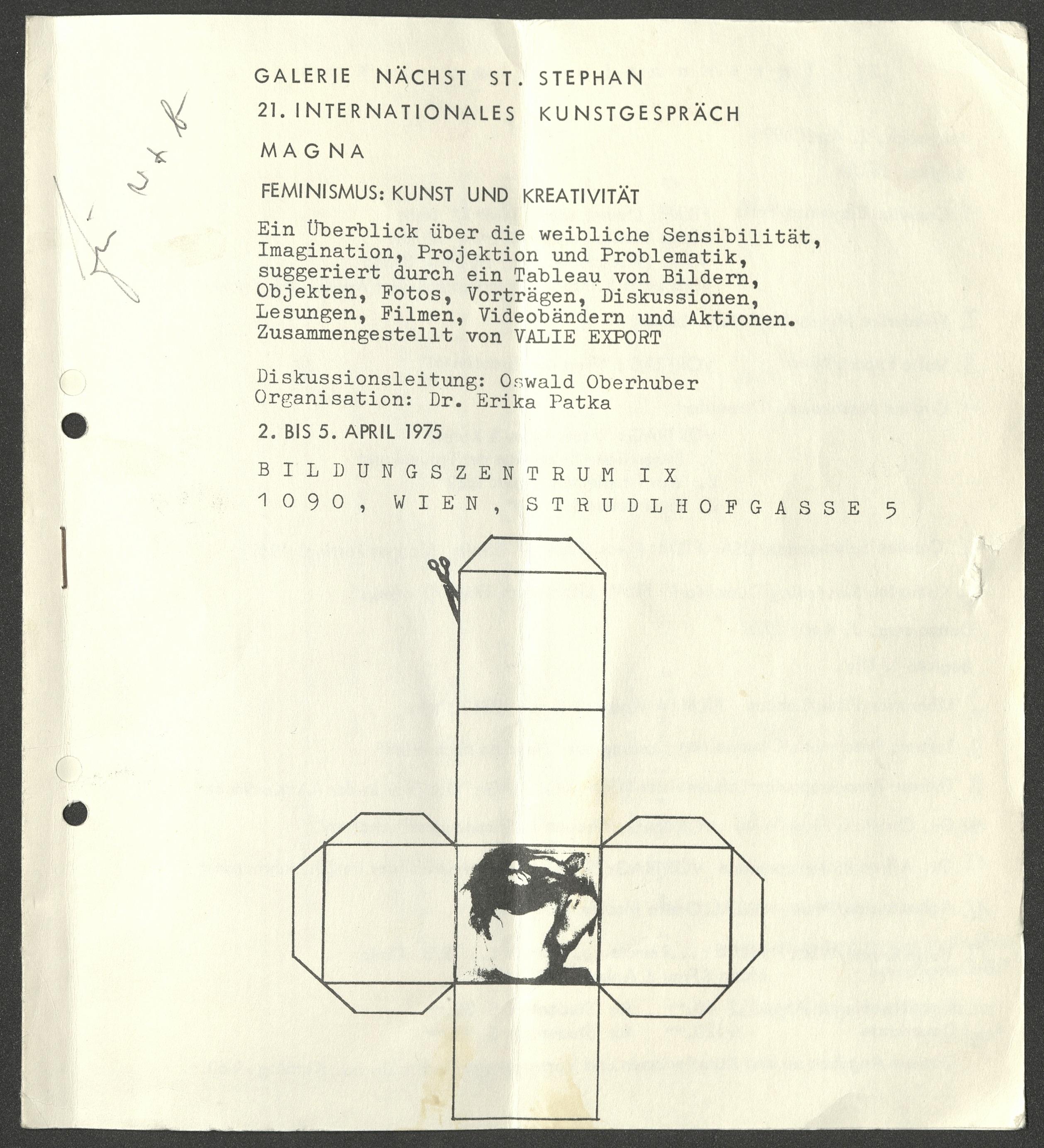 KUNST UND KREATIVITÄT, Galerie Nächst St. Stephan, Vienna 1975 (program/announcement); ; Archiv der Avantgarden, Staatliche Kunstsammlungen Dresden