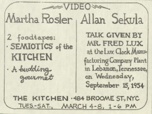 Video Screening: Martha Rosler, Allan Sekula, THE KITCHEN, New York 1975 (announcement); Archiv der Avantgarden, Staatliche Kunstsammlungen Dresden