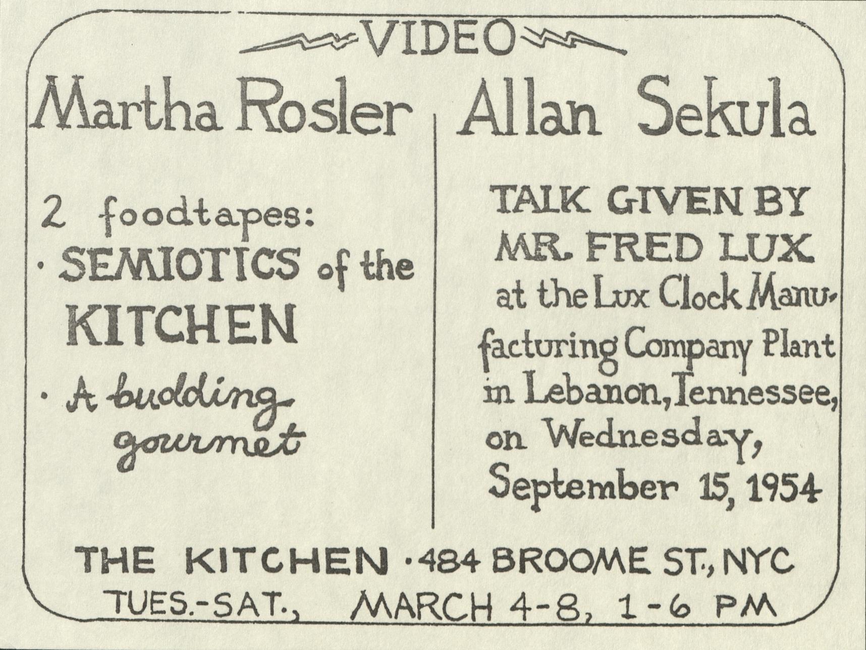 Video Screening: Martha Rosler, Allan Sekula, THE KITCHEN, New York 1975 (announcement); Archiv der Avantgarden, Staatliche Kunstsammlungen Dresden