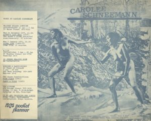 Carolee Schneemann, Performance, Video, Installation, 1976 (yearly program); Archiv der Avantgarden, Staatliche Kunstsammlungen Dresden © VG Bild-Kunst, Bonn