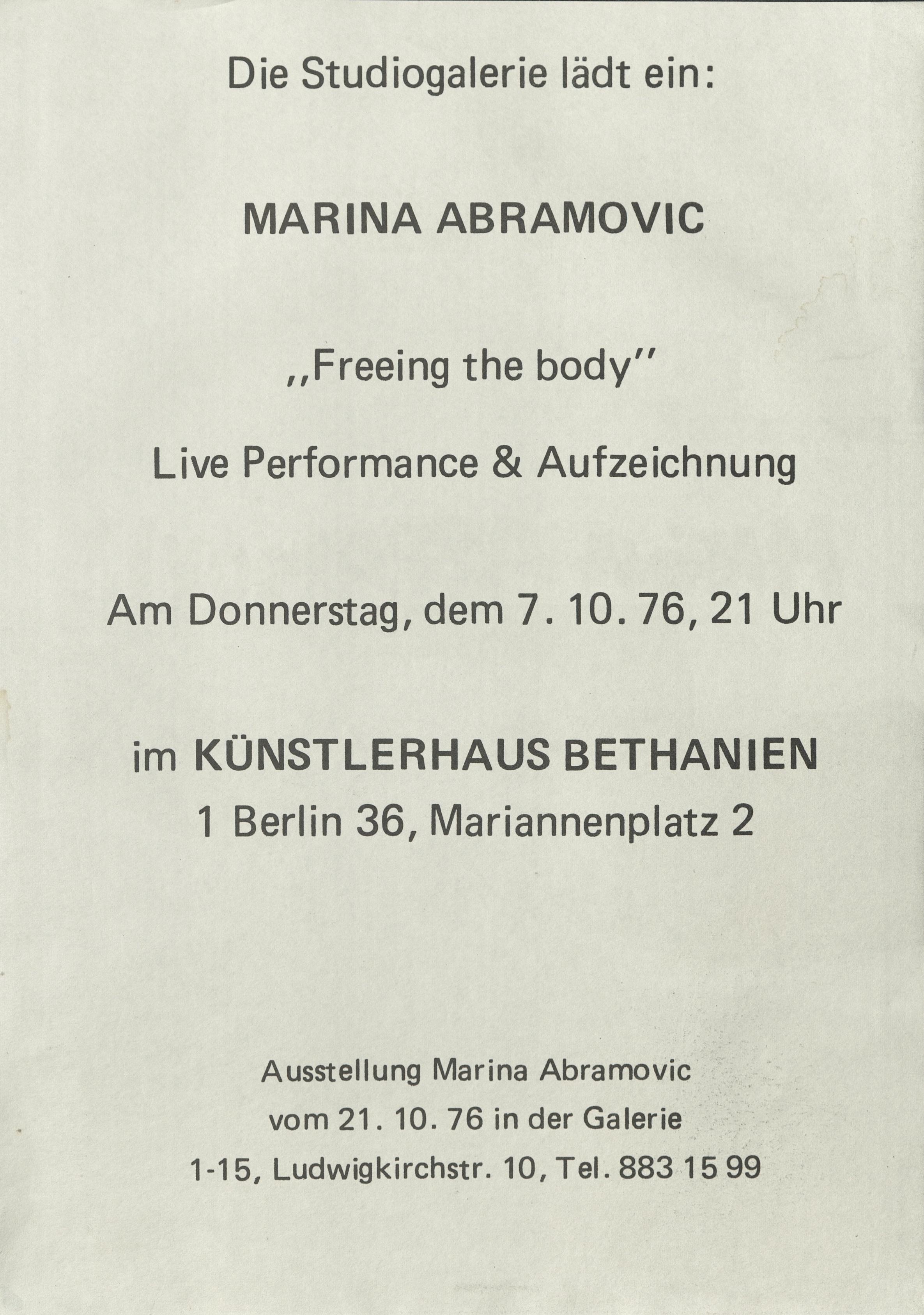 Marina Abramović / Ulay, INSTALLATION TWO, Harlekin Art, Wiesbaden, 1979 (invitation card, photograph anonym); Archiv der Avantgarden, Staatliche Kunstsammlungen Dresden © VG Bild-Kunst, Bonn