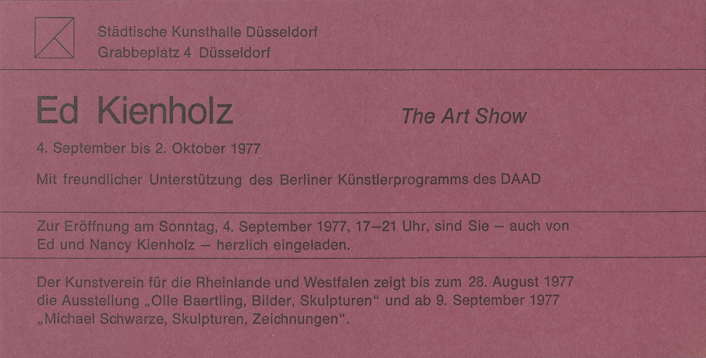Ed Kienholz, THE ART SHOW, Städtische Kunsthalle Düsseldorf, 1977 (INVITATION); Archiv der Avantgarden, Staatliche Kunstsammlungen Dresden