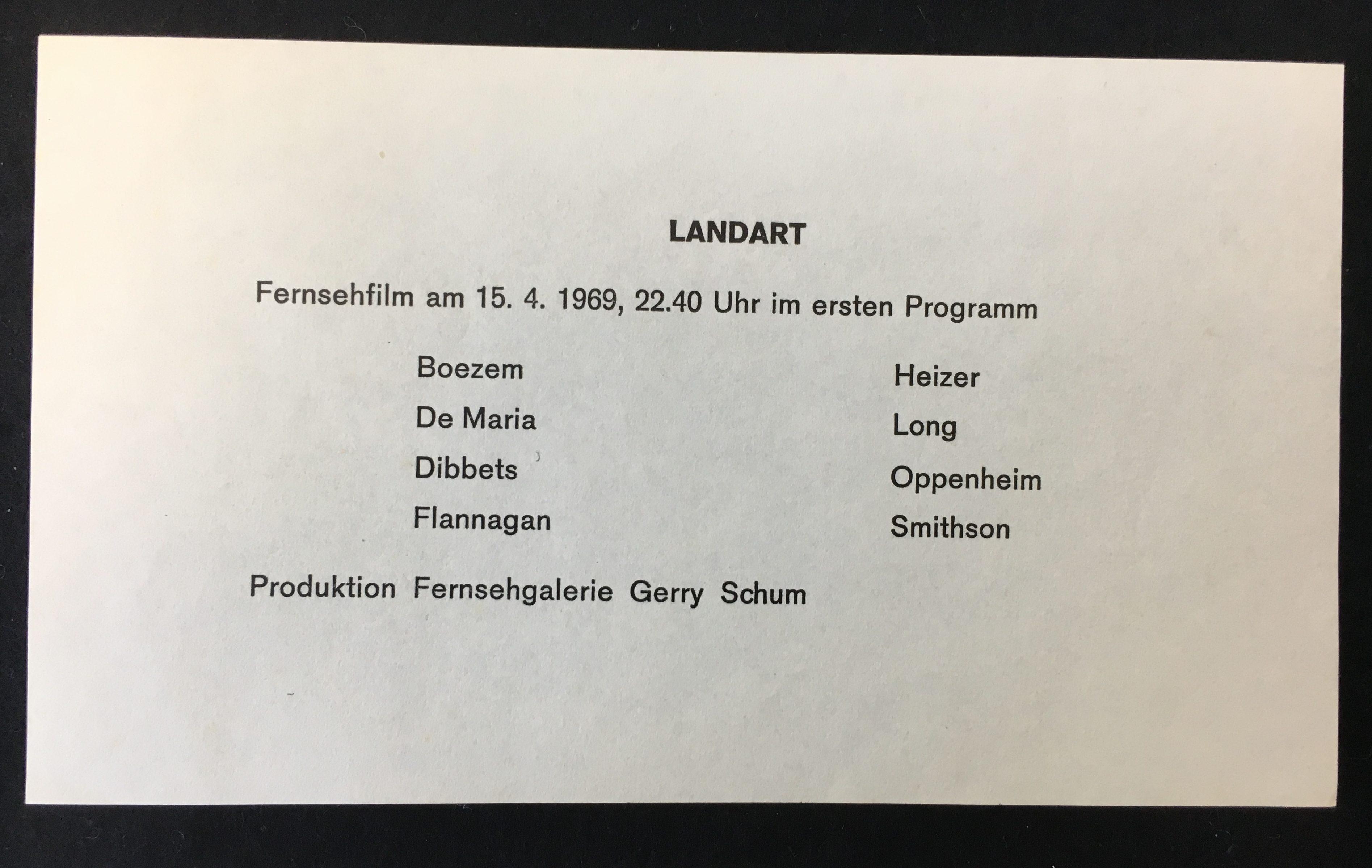 Gerry Schum, Fernsehgalerie Berlin, Land Art, Sender Freies Berlin, 1969 (invitation); Sammlung Marzona, Kunstbibliothek – Staatliche Museen zu Berlin