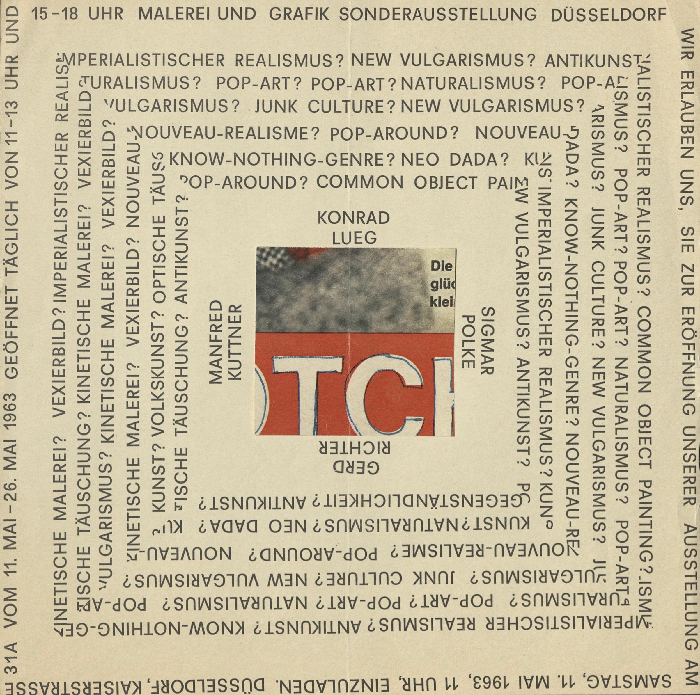 Kuttner, Lueg, Polke, Richter, Ladengalerie, Düsseldorf 1963 (Invitation) Archiv der Avantgarden, Staatliche Kunstsammlungen Dresden