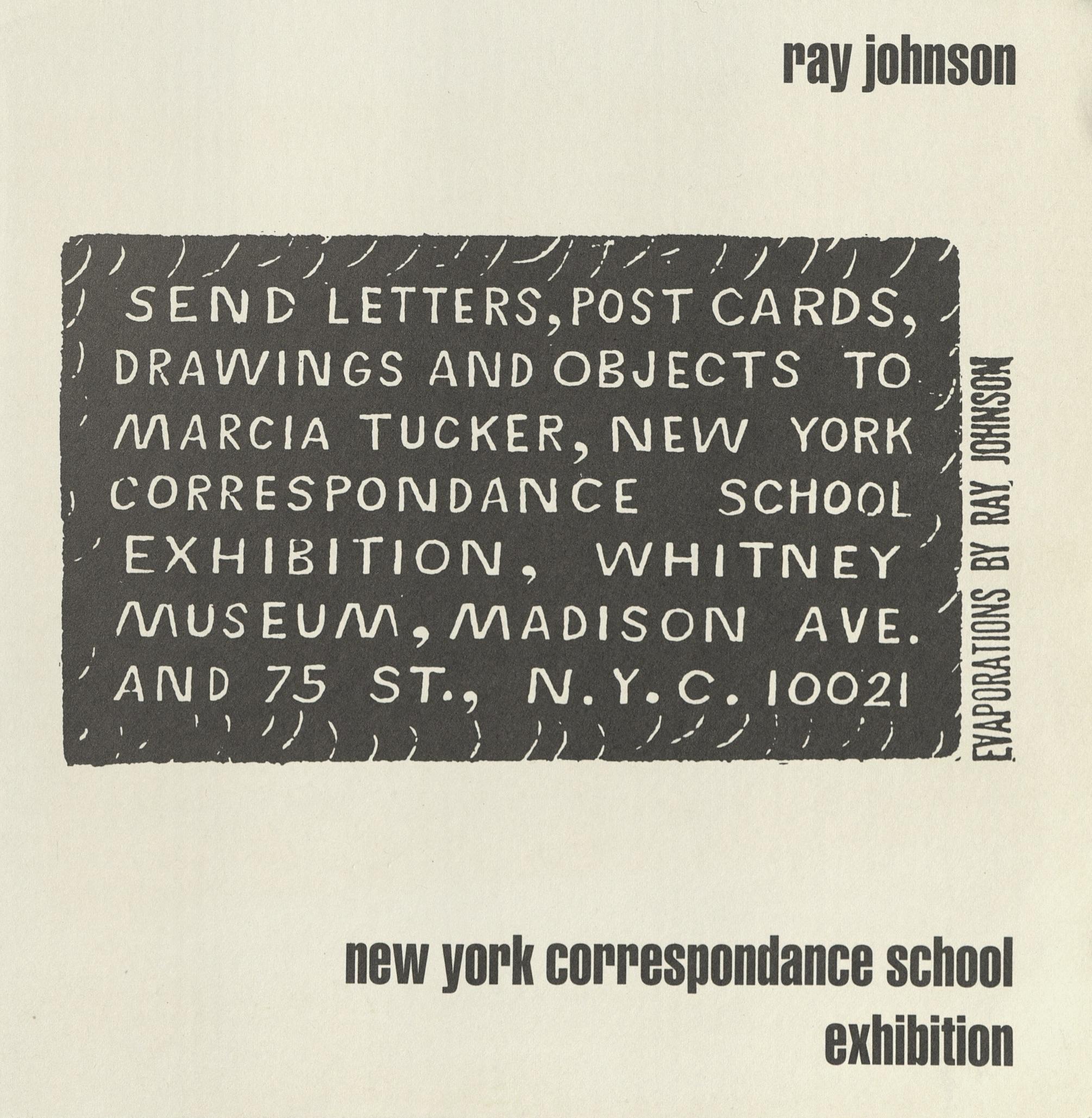 Ray Johnson New York Correspondance School Exhibition