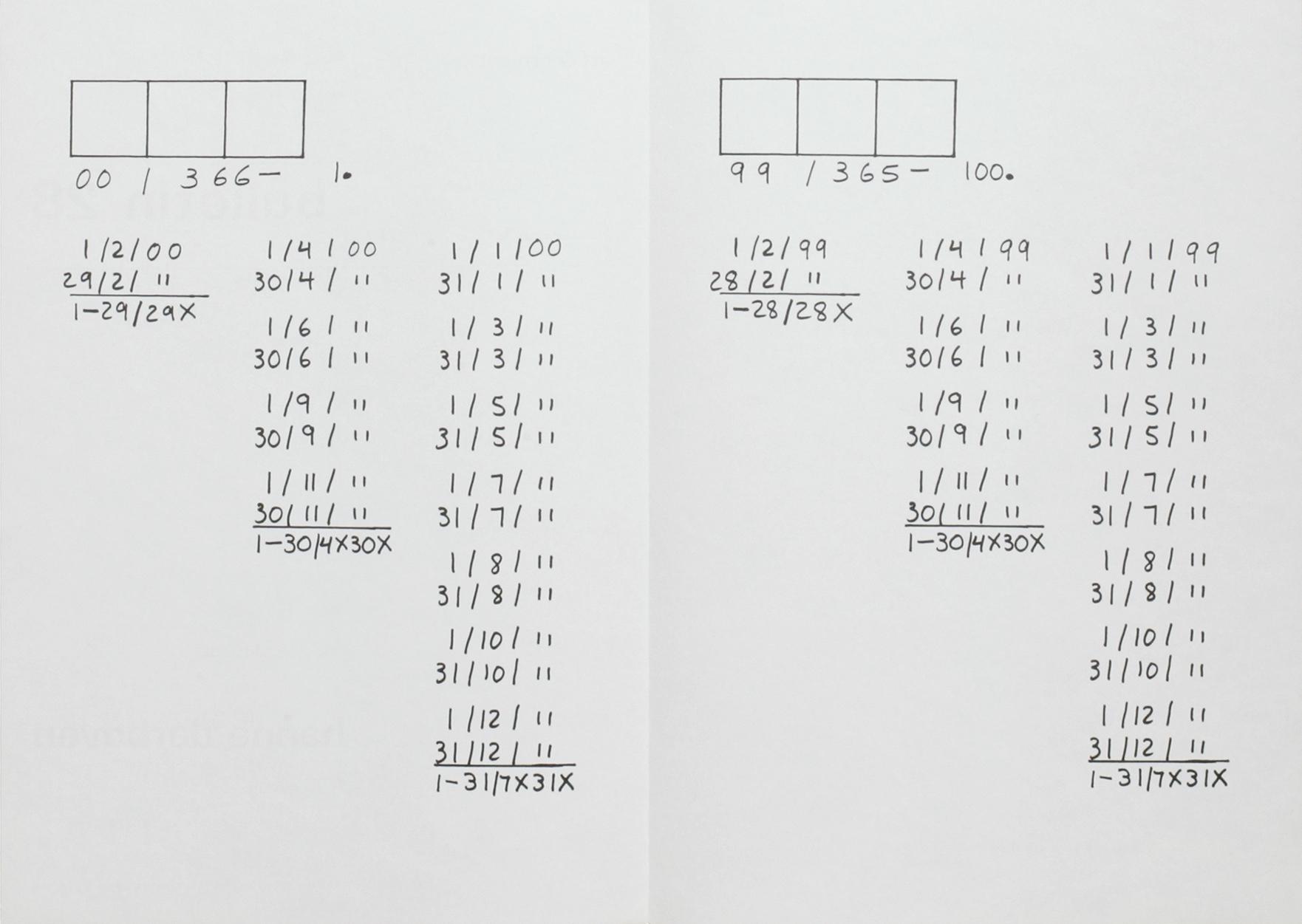 Hanne Darboven, art & project, Bulletin 28, Amsterdam, 1970 (Bulletin, Edition, Invitation); Sammlung Marzona, Kunstbibliothek – Staatliche Museen zu Berlin; © VG Bild-Kunst, Bonn
