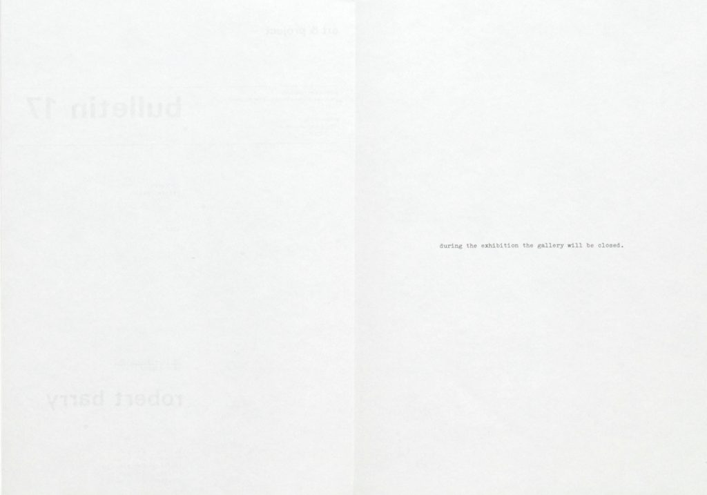 Robert Barry, Closed Gallery Project, art & project, Bulletin 17, Amsterdam 1969 (Bulletin, Invitation); Sammlung Marzona, Kunstbibliothek – Staatliche Museen zu Berlin