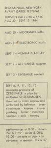 2ND ANNUAL NEW YORK AVANT GARDE FESTIVAL, Judson Hall, New York 1964 (invitation) Archiv der Avantgarden, Staatliche Kunstsammlungen Dresden
