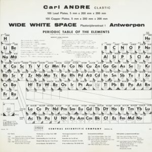 Carl Andre, CLASTIC at WIDE WHITE SPACE, 1968 (invitation Poster); Sammlung Marzona, Kunstbibliothek – Staatliche Museen zu Berlin