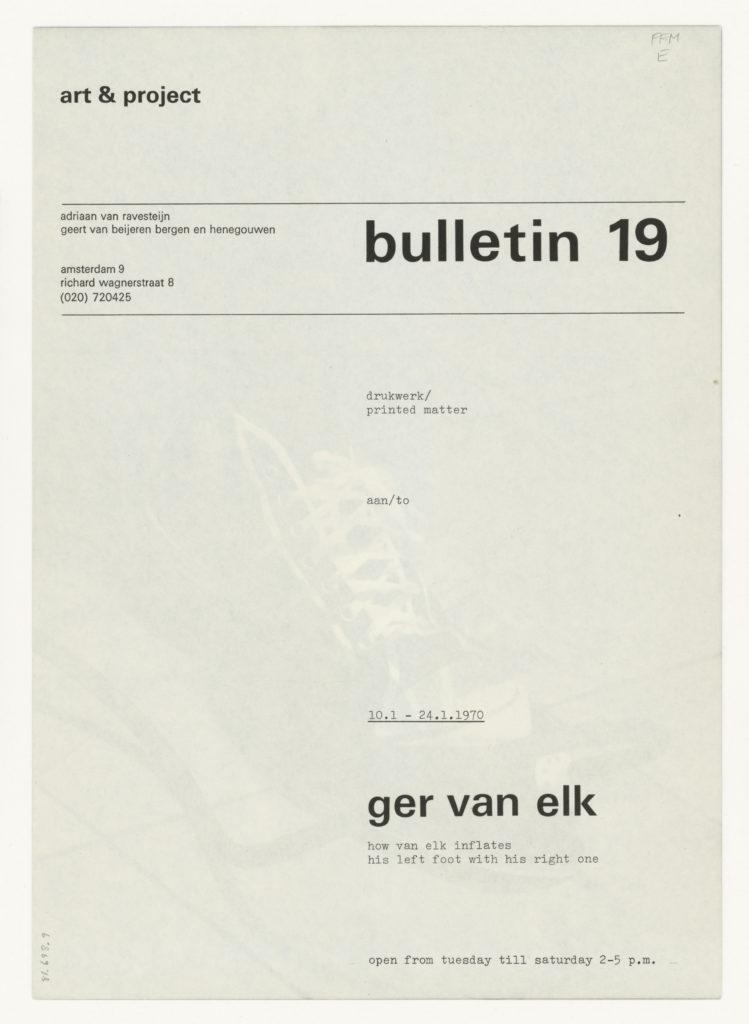 Ger van Elk, art & project, Bulletin 19, 1970 (invitation); Sammlung Marzona, Kunstbibliothek – Staatliche Museen zu Berlin