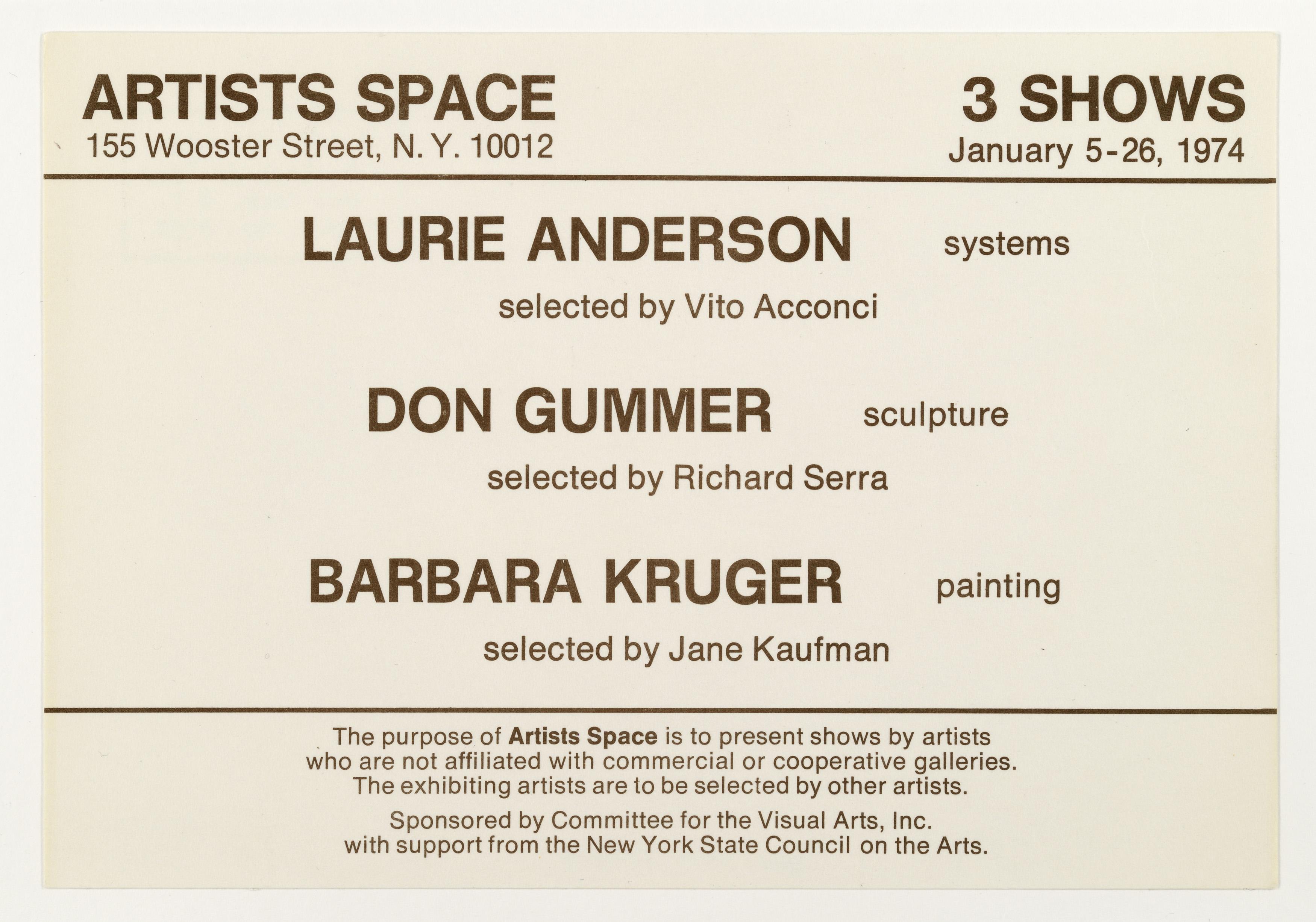 ARTISTS SPACE, NYC,: Laurie Anderson, Don Gummer, Barbara Kruger, 1974 (Invitation); Sammlung Marzona, Kunstbibliothek – Staatliche Museen zu Berlin