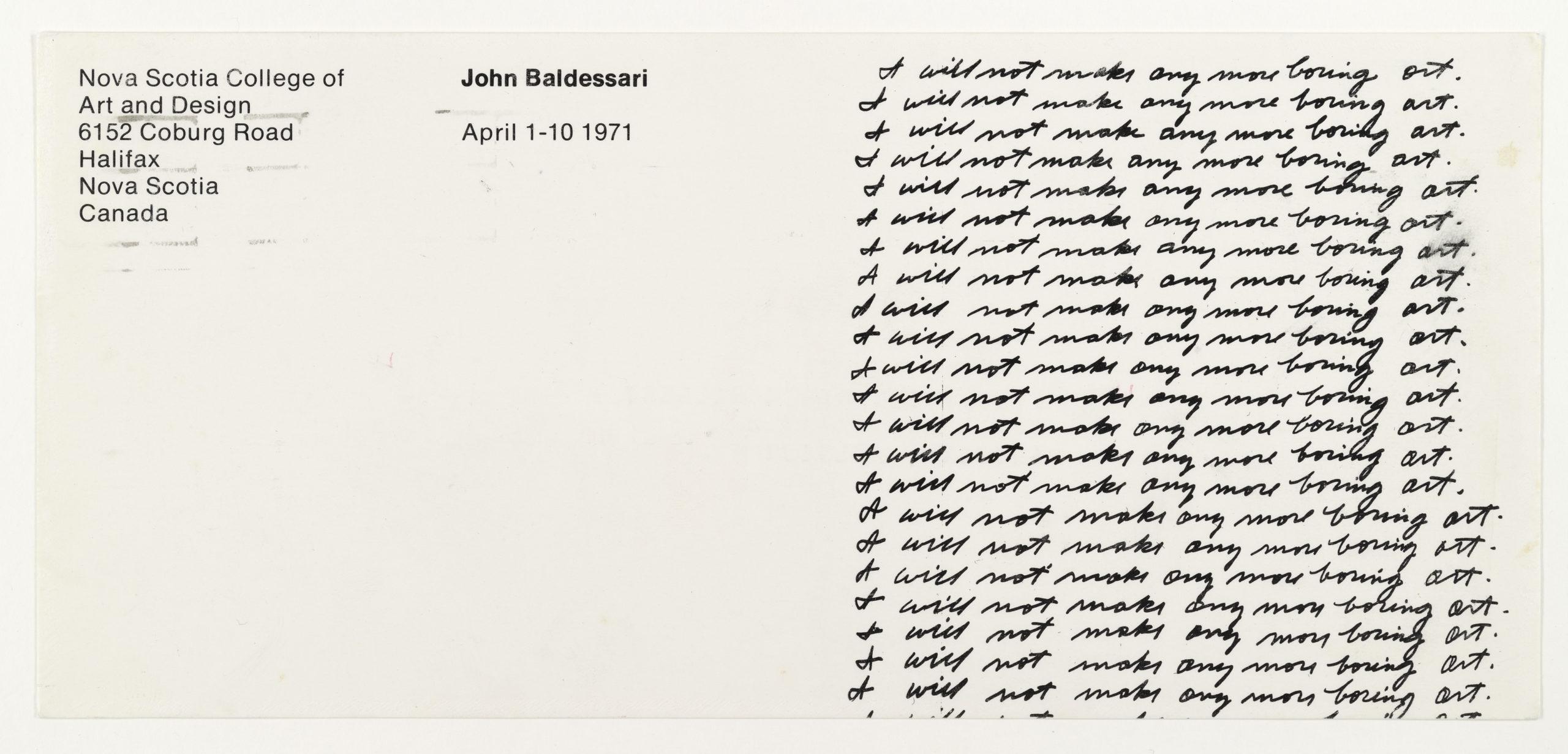 "John Baldessari "" I will not make anymore boring art"", Nova Scotia College, Halifax 1971 (Invitation); Sammlung Marzona, Kunstbibliothek – Staatliche Museen zu Berlin"