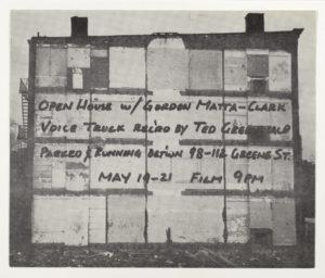 Gordon Matta-Clark, Open House, 112 Greene Street Gallery, New York, 1972; Sammlung Marzona, Kunstbibliothek – Staatliche Museen zu Berlin