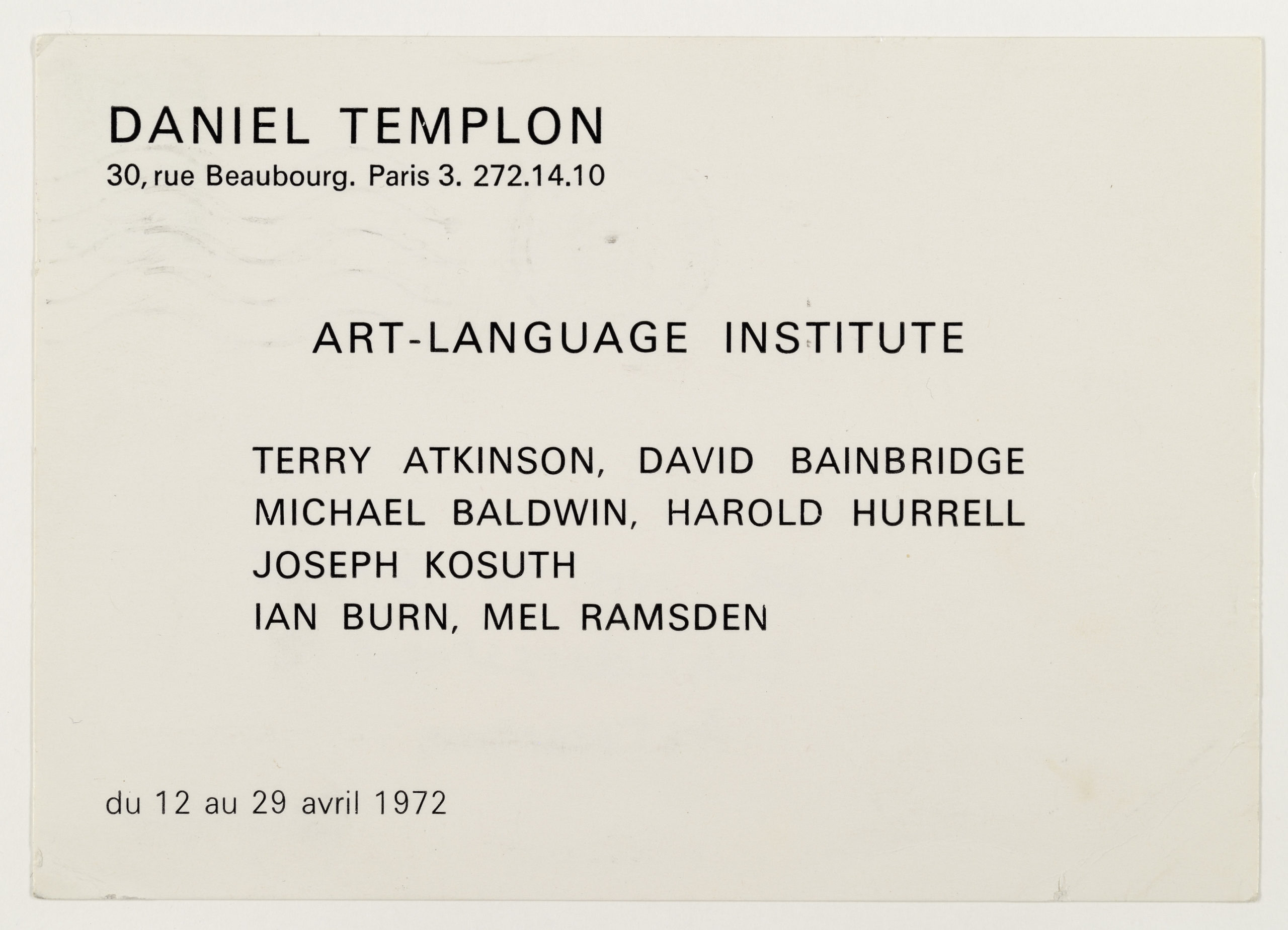 Art & Language Institute, Galerie Templon, Paris 1972 (invitation); Sammlung Marzona, Kunstbibliothek – Staatliche Museen zu Berlin
